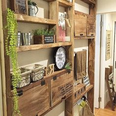 Interior examples such as desk / here& your own handsome space (laugh) / washroom / bathroom / storage Diy Interior, Room Interior, Interior Design Living Room, Vintage Kitchen Decor, Asian Decor, Wooden Cabinets, Beautiful Living Rooms, Deco Furniture, Wooden Diy