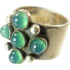 Vintage Kaunis Koru Ring with Chrysoprase Stones - Finnish Modernist -- found at www.rubylane.com #vintagebeginshere