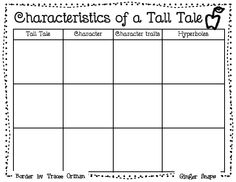Characteristics of a Tall Tale graphic organizer- Paul Bunyon (Unit 3 Week Reading Strategies, Reading Skills, Teaching Reading, Reading Intervention, Reading Lessons, Writing Lessons, Reading Resources, Writing Ideas, Reading Comprehension
