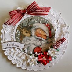 DIY Vintage Santa Bauble Ornament Inspiration. Recycle a CD for a sturdy base.