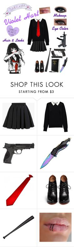 """""""Violet Hart {Yandere OC}"""" by anime-loverx ❤ liked on Polyvore featuring Balmain, Essentiel, Smith & Wesson, Handle, Givenchy and Elisabeth Weinstock"""