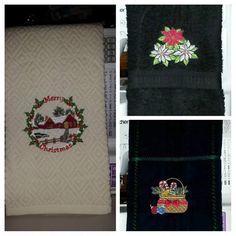 Embroidered Christmas towels ♡♡♡