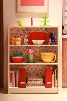 I have an old Billy bookcase - this is a great idea! billy bookcase (ikea) with fabric backing Furniture Makeover, Diy Furniture, Papel Contact, Contact Paper, Ikea Billy Bookcase, Bookcases, Small Bookshelf, Sweet Home, Deco Boheme