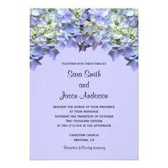 Purple Hydrangea Wedding Personalized Announcements