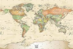 World Political Map Wall Decal, Antique Oceans - contemporary - Wall Stickers - 1-World Globes & Maps