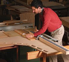 Ultimate Crosscut Sled - This unusual crosscut sled goes miles beyond the basic carpenter's sled with runners that slide in a tablesaw's miter-gauge grooves. This sled, used with an accompanying sled horse, allows you to crosscut large panels and long boards safely, accurately, and repeatably.