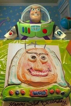 "This Buzz Lightyear as rendered by Picasso: 27 Kids' Birthday Cake Fails That'll Make You Go, ""Nailed It! Cooking Fails, Food Fails, Buzz Lightyear, Funny Pictures With Captions, Funny Animal Pictures, Hilarious Pictures, Funny Animals, Epic Cake Fails, Funny Fails"