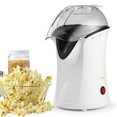 Popcorn Machine Hot Air Popcorn Popper with Wide Mouth Desig (White)(Plastic) Hot Air Popcorn Popper, Air Popper, Air Popped Popcorn, Pop Popcorn, Best Popcorn Maker, Healthy Popcorn, Specialty Appliances, Home Chef, Making Machine