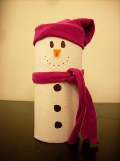 123 HAZLO: ¿Cómo hacer un mono de nieve con rollos de papel h...