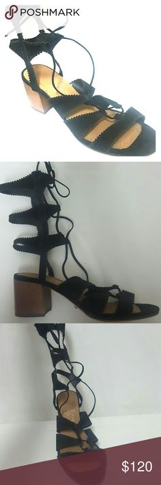 Schutz leather gladiator strappy sandals LkNw 8.5 Schutz black nubuck leather sandals in like new condition, worn once. Size 8.5 medium, heel is 2.3 inches, top to bottom is 9.7 inches. Thank you SCHUTZ Shoes Sandals