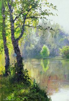 Painting Nature Water Trees New Ideas Watercolor Trees, Watercolor Landscape, Landscape Art, Landscape Paintings, Watercolor Paintings, Landscapes, Watercolour, Painting Art, Tree Art