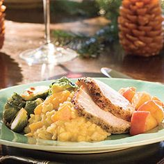 Pork Loin Roast With Carolina Apple Compote - Elegant Holiday Entrée Recipes - Southernliving. Recipe: Pork Loin Roast With Carolina Apple Compote Trussing the roast promotes even cooking. If you prefer, ask your butcher to do it for you. Apple Recipes, Pork Recipes, Holiday Recipes, Christmas Recipes, Fall Recipes, Pork Meals, Christmas Foods, Holiday Meals, Christmas Cooking