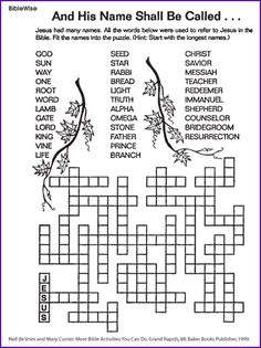 The Many Names for Jesus (Puzzle) Kids Korner BibleWise - Kids Names - Ideas fo Kids Names - The Many Names for Jesus (Puzzle) Kids Korner BibleWise Sunday School Activities, Bible Activities, Church Activities, Sunday School Lessons, Sunday School Crafts, Bible Games, Class Activities, Bible Quiz, Kids Church