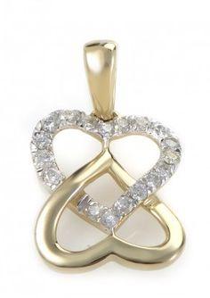 14K Yellow Gold & Diamond Overlapping Heart Pendant