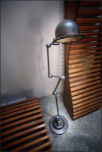 love this little lamp - it looks like a creature. Industrial Design, Lamp, Industrial Floor Lamps, Vintage Lamps, Industrial Lamp, Home Accessories, Industrial Lighting, French Lamp, Cool Light Fixtures