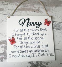 Nanny gifts, nanny sign, nanny birthday gift, grandma, gifts for grandma … – Super Mother's Day Gifts Mothers Day Gifts From Daughter, Mothers Day Crafts For Kids, Diy Mothers Day Gifts, Grandmother Gifts, Mothers Day Cards, Grandmothers, Nanny Gifts, Gifts For Nan, Diy Mother's Day Crafts