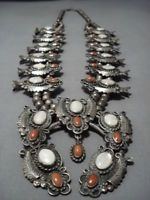 331 GRAMS! VINTAGE NAVAJO CORAL STERLING SILVER SQUASH BLOSSOM NECKLACE OLD