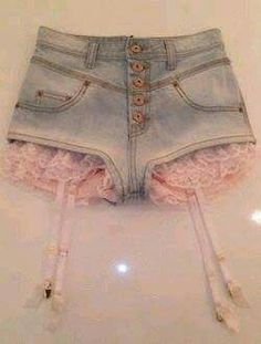 Grey shorts with black lace would be so cute!