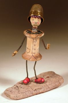 spool man -  II received a spoolman from sheepBlue!  My guy stands on a darning egg with a darning need walking stick!