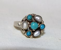 Unique Estate Natural Turquoise & Pearl 925 Sterling Silver Ring 7.5 #Cluster
