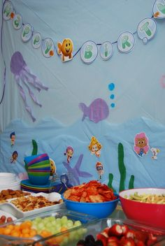 Under the Sea Birthday Party-background 9th Birthday Parties, Birthday Fun, Birthday Party Decorations, Birthday Ideas, Underwater Party, Underwater Birthday, Bubble Guppies Party, Bubble Guppies Birthday, Party Time