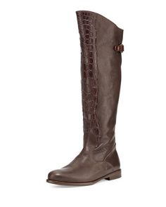 Crocodile & Leather Knee Boot, Dark Brown by Henry Beguelin at Neiman Marcus.
