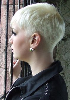 Shaved nape #PixieCut Love the #platinum color on this look.