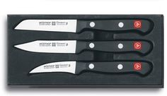 Wusthof Gourmet 3-Piece Paring Knife Set by Wusthof. $39.95. Made of high-carbon, stainless-steel blade. Hand washing recommended. Encases full-tang, 3-rivet, poly handle. Set includes knives each of 3-inch drop-point, 3-inch sharp-point, 2-1/4-inch bird's beak. Dishwasher-safe, but hand washing recommended. Amazon.com                Moderately priced companions to Wüsthof's renowned Classic  forged knives, Gourmet Series knives have the same full-tang,  thre...