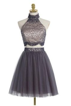 AHC107 Two piece High Neck Gray Beading Homecoming Dresses Sexy Bridesmaid Dress ,Cheap Prom Dress