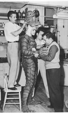 Suiting up. Creature from the Black lagoon-1954. A bit of trivia. The Lagoon set was the same set used for some Gilligan's Island episodes.