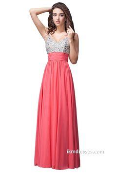 Elegant V-neck Beaded Chiffon Floor-Length Prom Dresses http://www.ikmdresses.com/Elegant-V-neck-Beaded-Chiffon-Floor-Length-Prom-Dresses-p87994
