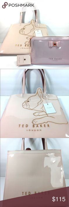 Ted Baker French #buldog tote shopper & Make up bag Ted Baker medium iconic French bulldog shopper tote bag & classic front bow make up / cosmetics bags Both in pink (different shades) New Ted Baker London Bags Totes