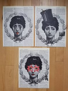 Fornasetti.Top hat.Floral.Pierrot.Set of 3..Gift.Antique Book Page Print.Home Deco.birthday.art.french.mixed media art.antique.classic.bath. by JackieBassettArt on Etsy Vintage Maps, Vintage Love, Vintage Prints, Vintage Typewriters, Affordable Art, French Art, Antique Books, Book Pages, Lovers Art