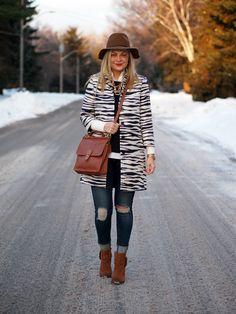 Run Wild Jacket: c/o Ann Taylor   Shirt: c/o Ann Taylor   Blouse: Ann Taylor   Jeans: Rag & Bone   Boots: Shoemint {old, similar}   Hat: Target {old, similar}   Necklace: Olive + Piper {similar}   Bag: Coach   Watch: Michael Kors