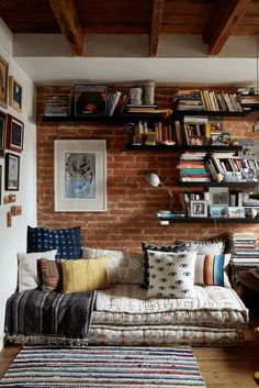 Cozy Bohemian home office meditation space book shelves | Girlfriend is Better