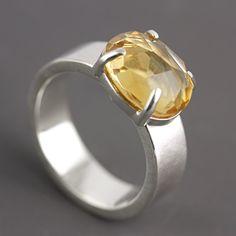 Brazilian Citrine Ring - Huge Stone Cocktail Ring - Natural Yellow Citrine Ring - November Birthstone Ring - Prong Set - Hammered - Size 7.5...