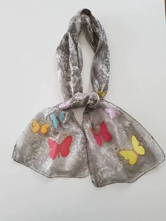 Very light and soft grey silk scarf with butterflies. Ideal for spring / summer evenings. Handmade Scarves, Silk Scarves, Butterflies, Coin Purse, Fashion Accessories, My Etsy Shop, Grey, Check, Top