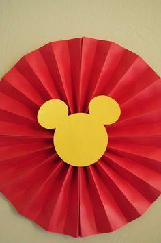 Mickey Paper Fan Decoration - Josh's 3rd Mickey Mouse Clubhouse Celebration | CatchMyParty.com