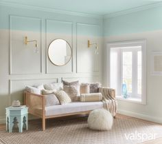 Get more Zzzzs under a sky blue ceiling. Brass accents and plump, cozy pillows complete the look. Paint Color: Valspar Dreamy Clouds at Lowe's, Valspar Snow in June at Ace and at Independent Retailers.  https://www.askval.com/ColorsOfTheYearLanding/Dreamy-Sky-Blue
