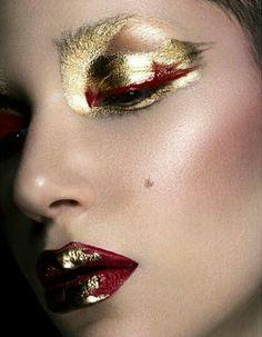 Deep red & metallic gold makeup