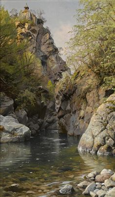 "Peder Mork Monsted, oil, ""A Mountain Gorge, Meran, South Tyrol"", 33 x 20 inches"