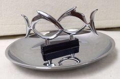 Mid Century Vintage Chrome Hamilton Product Two Fishes Ashtray or Small Tray