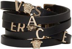 #Versace Black Leather Logo #Bracelet