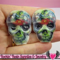 4 pc Creepy SUGAR SKULL Day of The Dead Flatback Decoden Cabochons 41 x 30mm