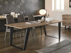 Electa fixed laminate top dining table by Target Point. This table comes with a vintage iron frame and wooden laminate top Modern Dining Table, Dining Tables, Vintage Iron, Dining Room Furniture, Retro Fashion, Contemporary, Living Room, Wood, Interior