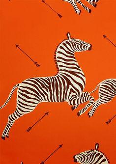 Scalamandre Zebra wallpaper in orange-main floor powder room Zebra Wallpaper, Orange Wallpaper, Fabric Wallpaper, Textile Pattern Design, Textile Patterns, Print Patterns, Textile Fabrics, Zebra Kunst, Zebra Art