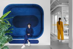 Studio 11 Uses Color and Graphic Details for Appodeal's Minsk Office – Design Milk – Modern Home Office Design Cool Office Space, Office Spaces, Office Art, Office Floor, Office Sofa, Lightroom, Built In Seating, Massage Room, Co Working