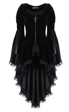Dark In Love Black Velvet Jacket    This gorgeous jacket from Dark In Love is made from a sumptuous black velvet, and features a stunning trad goth shape. Featuring a longer hem at the back, this beautif...