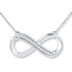 Diamond Infinity Necklace 1/10 ct tw Round-cut Sterling Silver From Jared