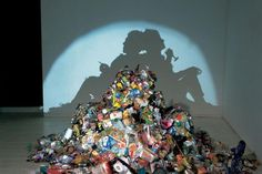 Recycled Materials, Art, taxidermy, found objects, recycled objects, british art, controversial art, Tim Noble & Sue Webster, recycled packaging, scrap metal, crazy art, dead animals, found objects, shadow paintings, british wildlife.  You should really check this page out...amazing ideas!